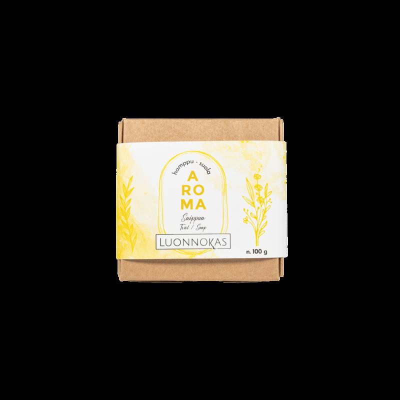 Luonnonmukainen käsintehty saippua kauniissa paketissa.