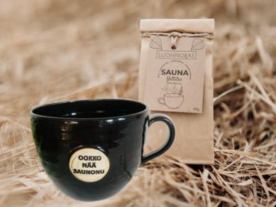 Saunamuki ja -tee yhdessä muodostavat hyvän lahjan.